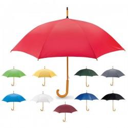Paraguas publicitarios de colores con mango de madera