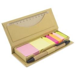 Estuche de cartón con notas adhesivas de colores varios tamaños y regla