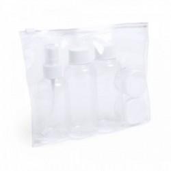 Neceser de viaje transparente con botellas