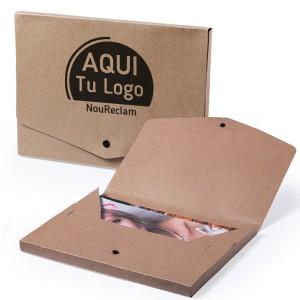 Carpetas publicitarias baratas de cartón reciclado con logo personalizado