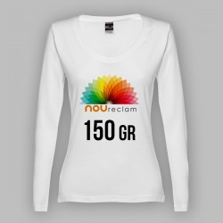 Camisetas manga larga blancas para mujer personalizadas con publicidad BUCHAREST WOMEN