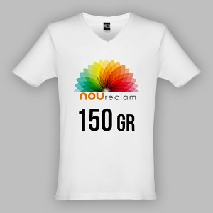 Camisetas blancas publicitarias cuello pico para personalizar ATHENS