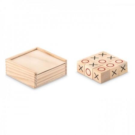 Juego de 3 en raya en caja de madera para merchandising publicitario