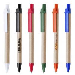 Bolígrafos de cartón con accesorios de colores