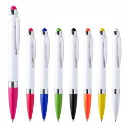 Bolígrafos blancos  contrastados en color con puntero y elementos cromados